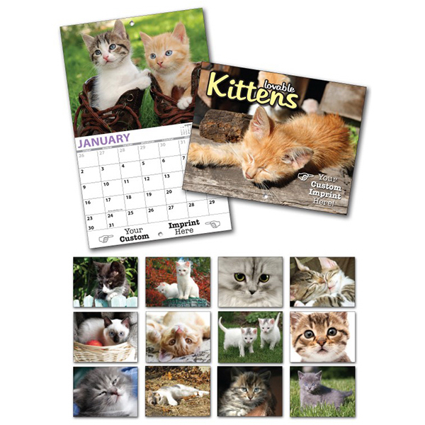 Promotional 13 Month Custom Appointment Wall Calendar - KITTENS