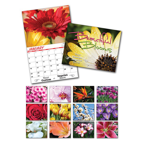 Imprinted 13 Month Custom Appointment Wall Calendar - BEAUTIFUL BLOOMS
