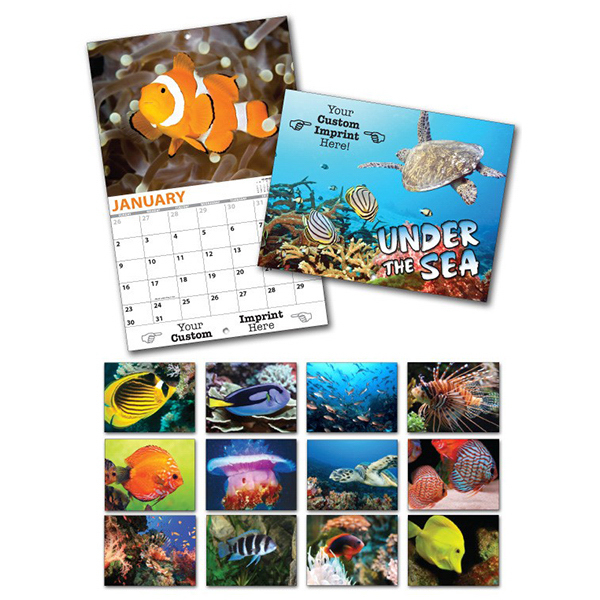 Printed 13 Month Custom Appointment Wall Calendar - UNDER THE SEA