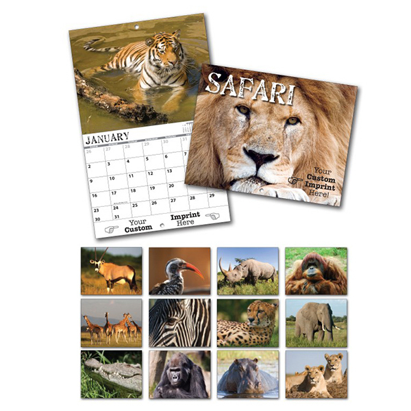 Imprinted 13 Month Custom Appointment Wall Calendar - SAFARI