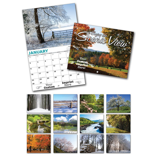 Printed 13 Month Custom Appointment Wall Calendar - SCENIC VIEW