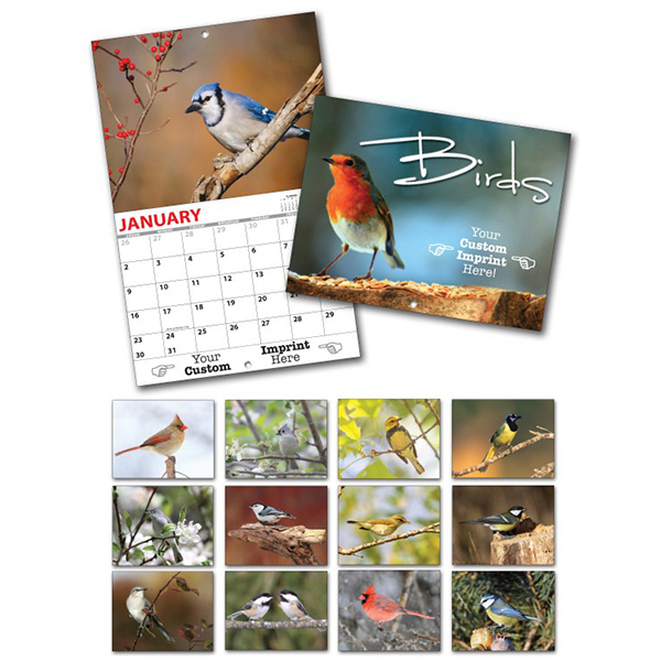 Promotional 13 Month Custom Appointment Wall Calendar - BIRDS