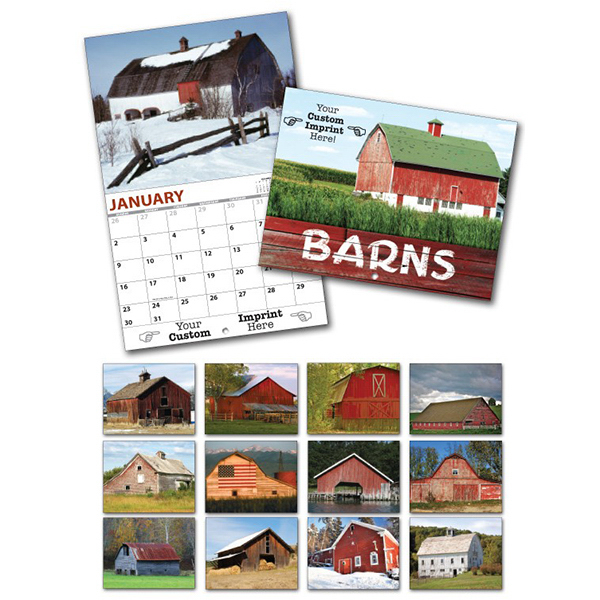 Imprinted 13 Month Custom Appointment Wall Calendar - BARNS