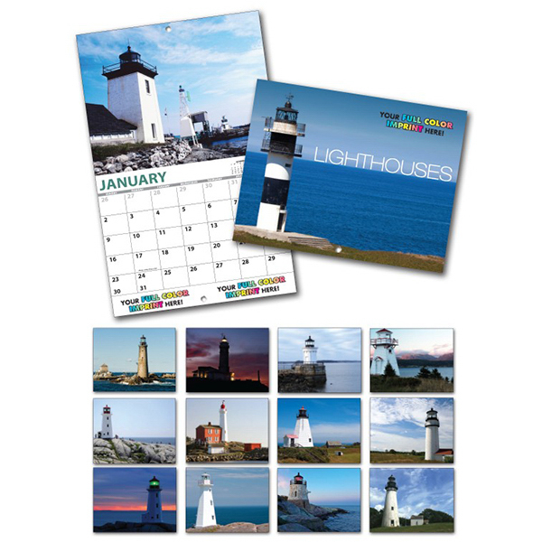 Printed 13 Month Custom Appointment Wall Calendar - LIGHTHOUSES