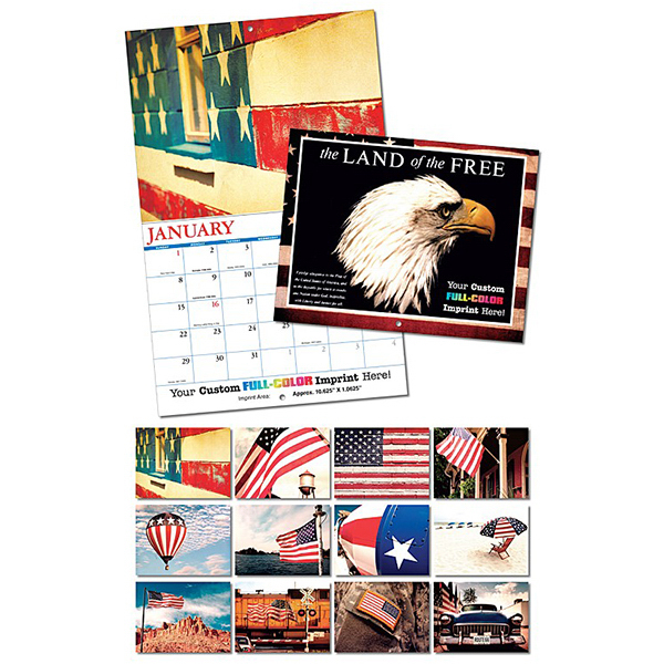 Customized 13 Month Custom Appointment Wall Calendar - LAND OF THE FREE