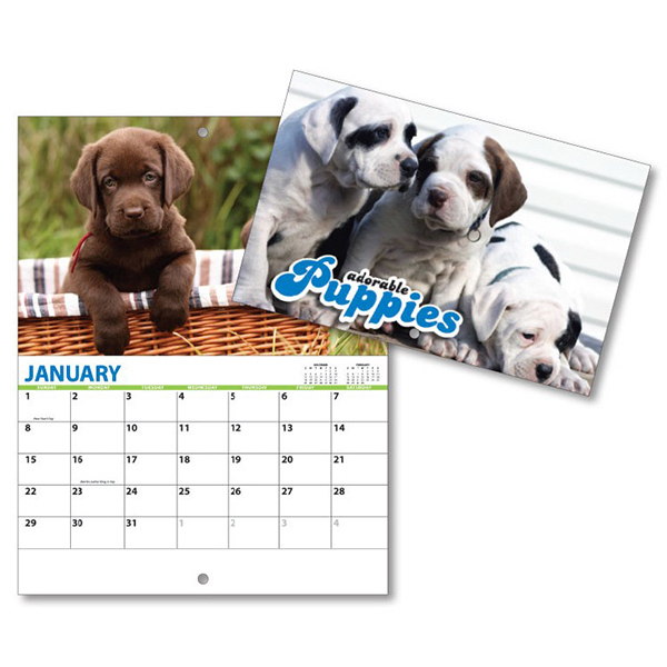 Imprinted 13 Month Mini Custom Photo Appointment Wall Calendar-PUPPIES