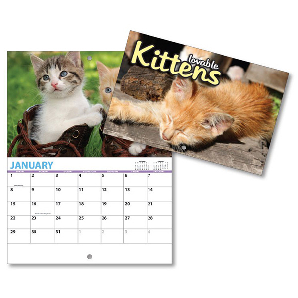 Custom 13 Month Mini Custom Photo Appointment Wall Calendar-KITTENS