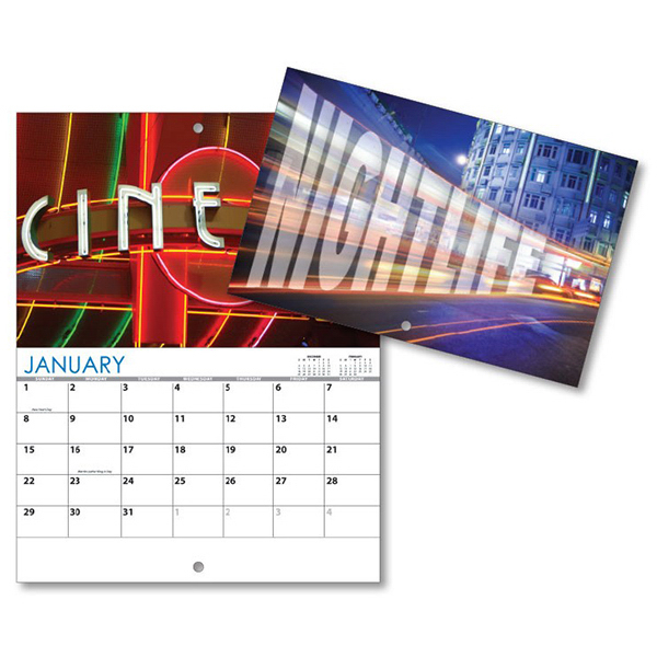 Imprinted 13 Month Mini Custom Photo Appt .Wall Calendar-NIGHTLIFE