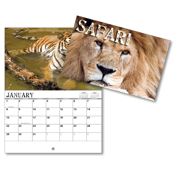Imprinted 13 Month Mini Custom Photo Appointment Wall Calendar-SAFARI