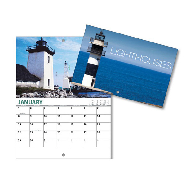Printed 13 Month Mini Custom Photo Appt. Wall Calendar - LIGHTHOUSES