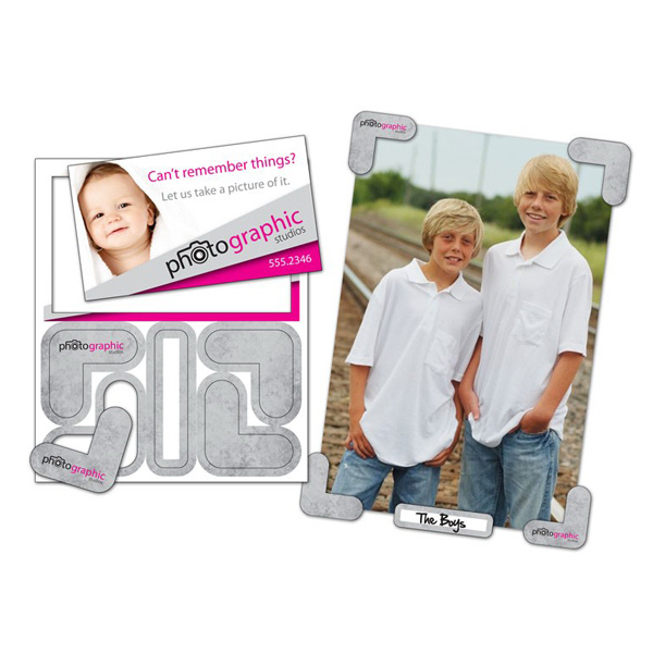 "Imprinted Picture Holder Magnet - 4"" x 4.75"" - Outdoor Safe"