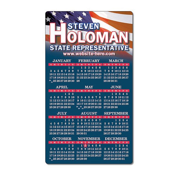 "Promotional Political Calendar Magnet - 4"" x 7"" Round Corners - 25 mil"