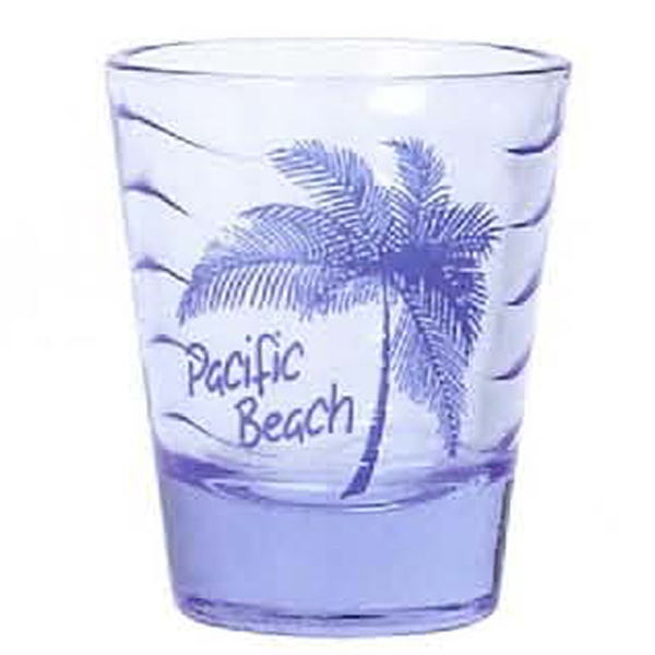 Personalized 2 oz. Blue Wave clear shot glass
