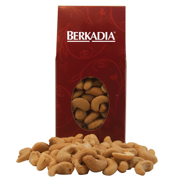 Imprinted Red Designer Treat Box with Cashew Nuts