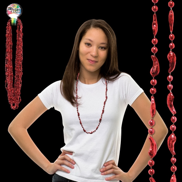 "Promotional 33"" Metallic Red Chili Pepper Beaded Necklace"