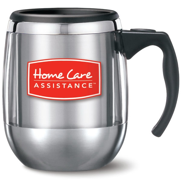 Personalized VisionSteel office mug with lid