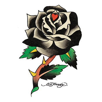 Imprinted Ed Hardy Black Rose Temporary Tattoo