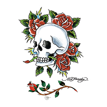 Personalized Ed Hardy Skull and Roses Temporary Tattoo