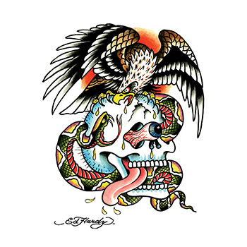 Custom Ed Hardy Skull Eagle Cobra Temporary Tattoo