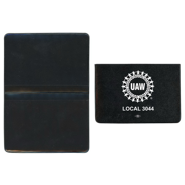 Promotional Castillion Vinyl Foldover Card Case with 2 Clear Pockets