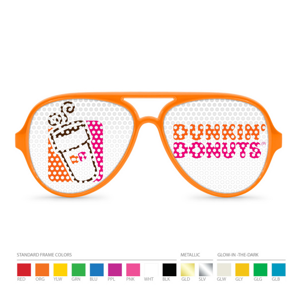 Imprinted Pinhole Orange Aviator Sunglasses (clear lens) NO MOQ