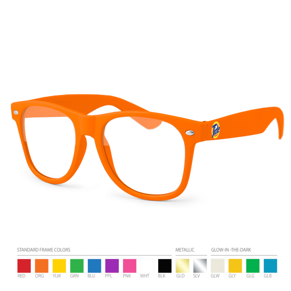 Promotional Orange Wayfarer Geek Glasses with Side Imprint, No Setups!