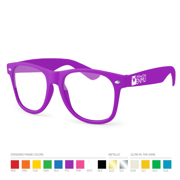 Promotional Purple Wayfarer Geek Glasses with Side Imprint, No Setups!