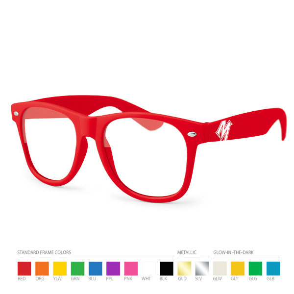 Imprinted Red Wayfarer Geek Glasses with Side Imprint, No Setups!