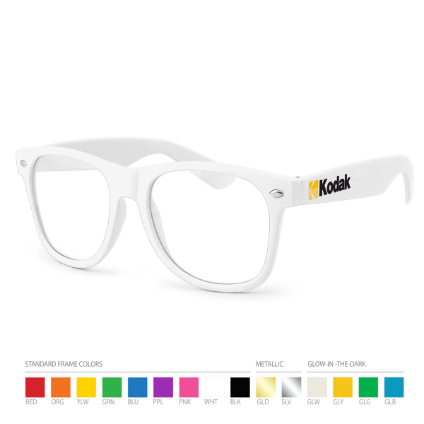 Promotional White Wayfarer Geek Glasses with Side Imprint, No Setups!