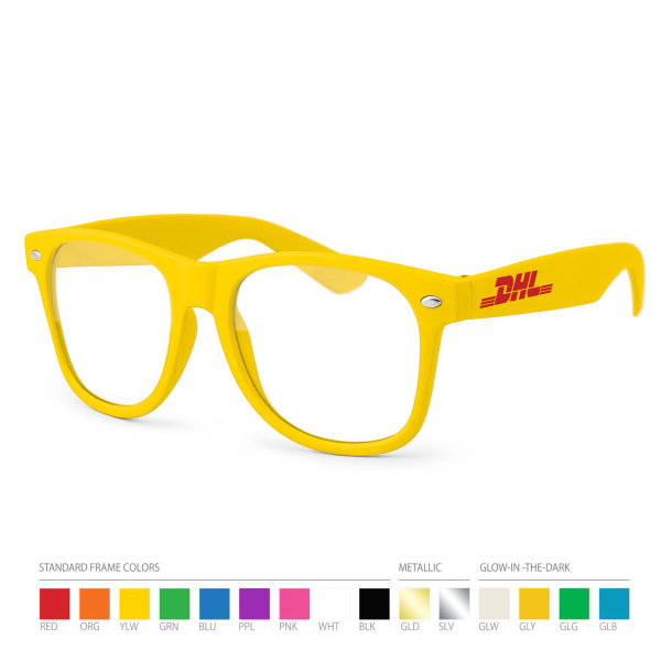 Custom Yellow Wayfarer Geek Glasses with Side Imprint, No Setups!