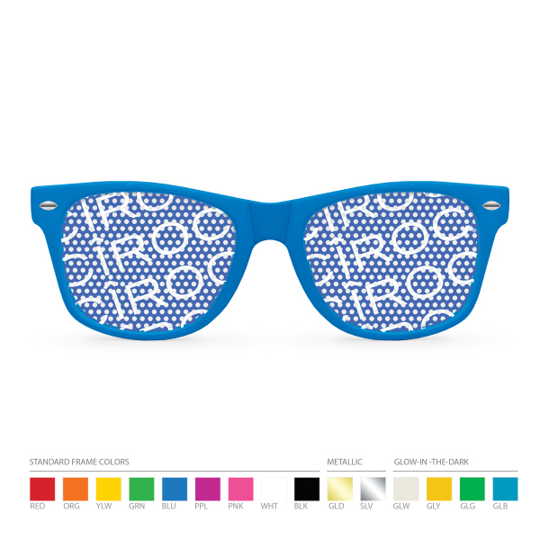 Customized Pinhole Blue Wayfarer Sunglasses (clear lens) NO MOQ