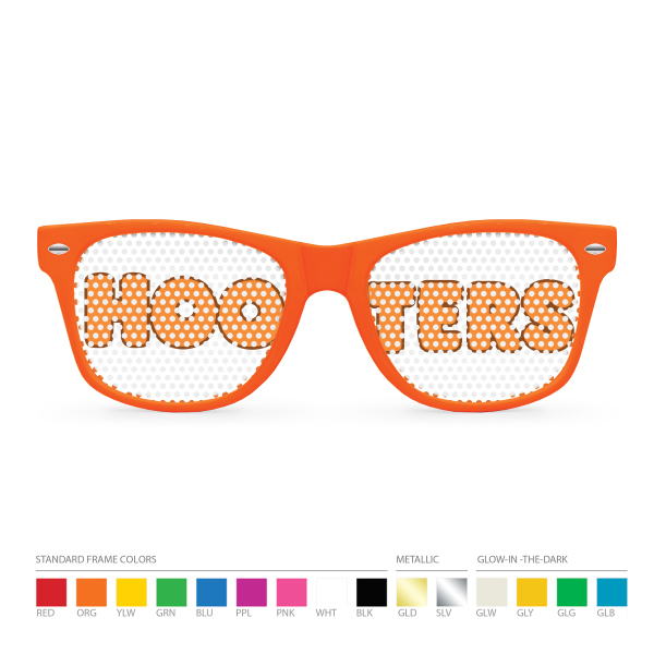 Custom Pinhole Orange Wayfarer Sunglasses (clear lens) NO MOQ