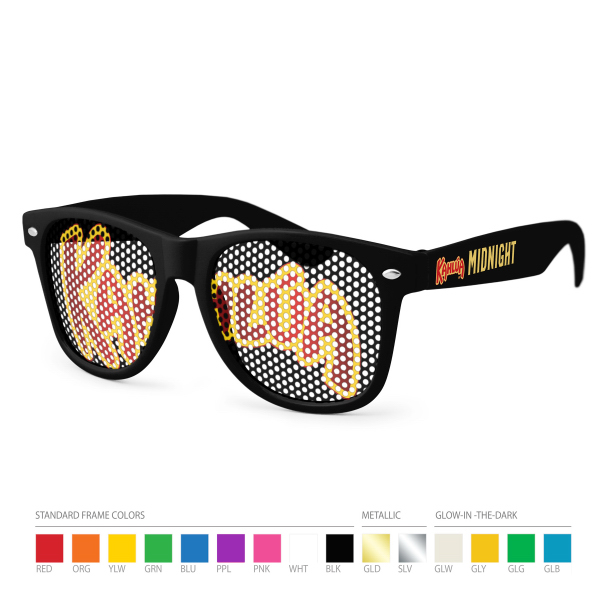 Promotional Pinhole Wayfarer Sunglasses (clear lens) with Side Imprint