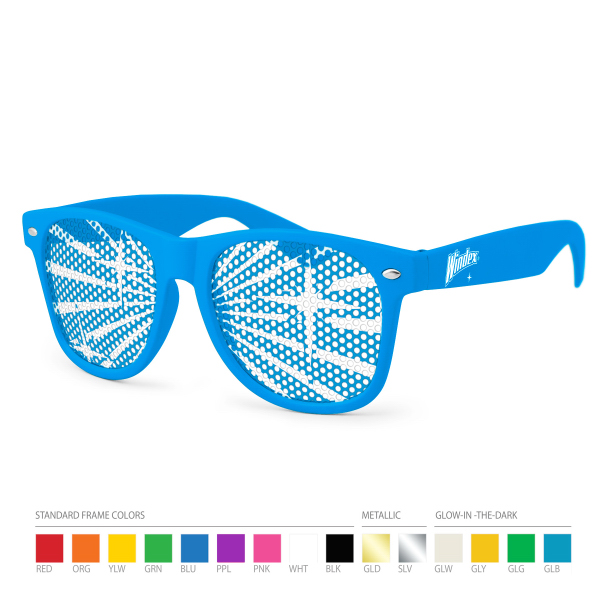 Custom Pinhole Wayfarer Sunglasses (clear lens) with Side Imprint
