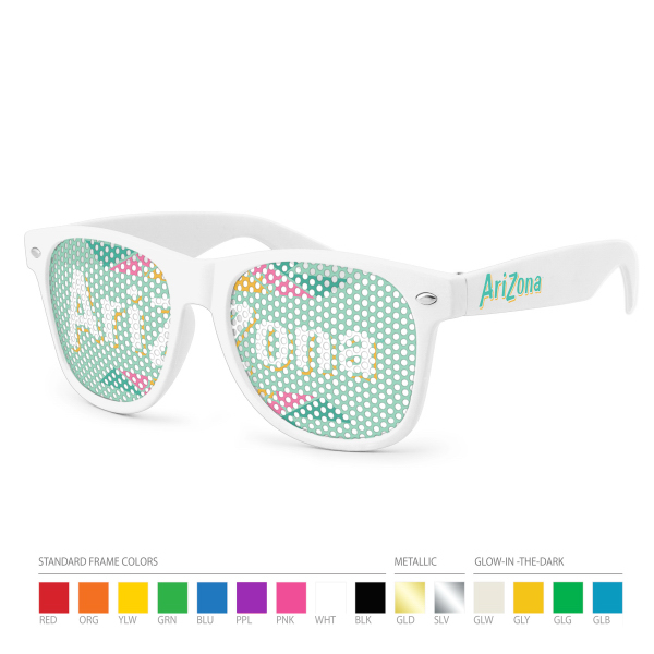 Customized Pinhole Wayfarer Sunglasses (clear lens) with Side Imprint