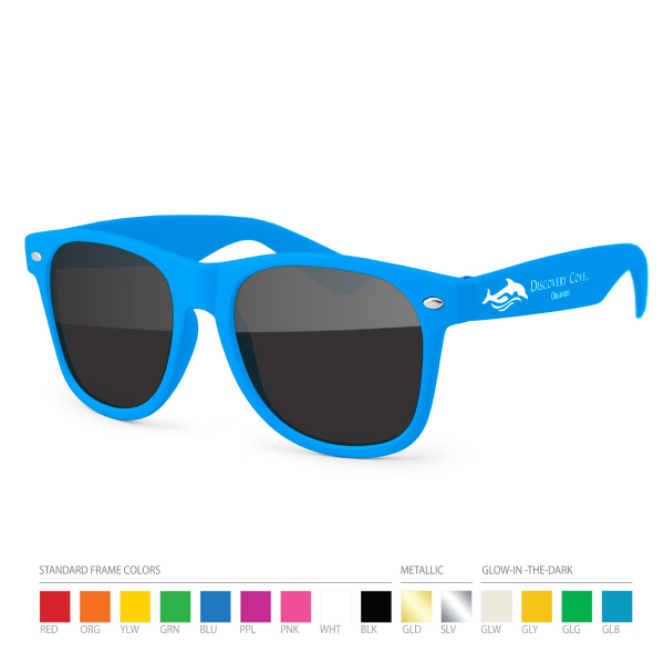Customized Blue Wayfarer Sunglasses with Side Imprint, no setups!