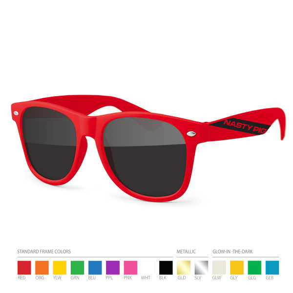 Custom Red Wayfarer Sunglasses with Side Imprint, no setups!