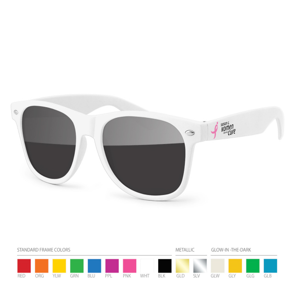 Promotional White Wayfarer Sunglasses with Side Imprint, no setups!