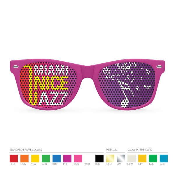 Customized Custom Printed Lens Pinhole Wayfarer Sunglasses (dark lens)