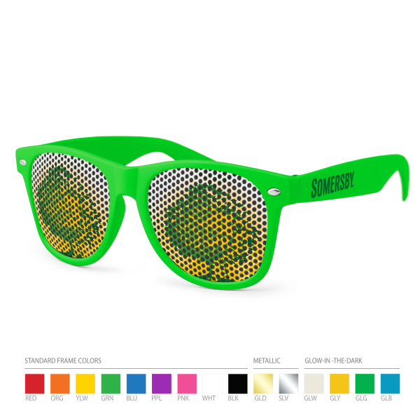 Promotional Pinhole Wayfarer Sunglasses (dark lens) with Side Imprint