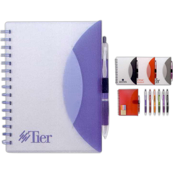 Imprinted Medium Flexible Notebook & Sticky Note Combo