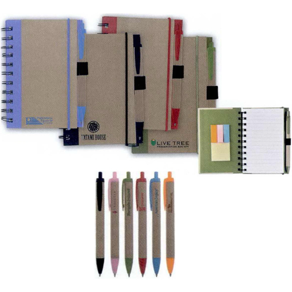 Customized Color Edge Eco Journal & Sticky Note Combo