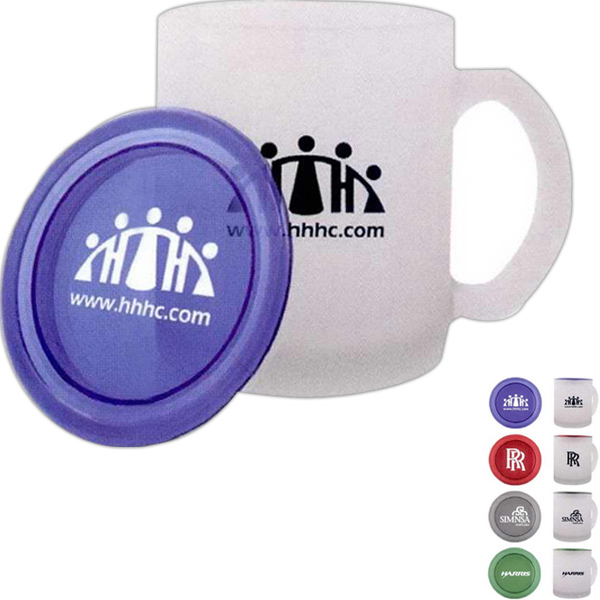 Imprinted Frosted Mug with Lid