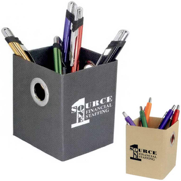Imprinted Riveted Eco Pen Caddy
