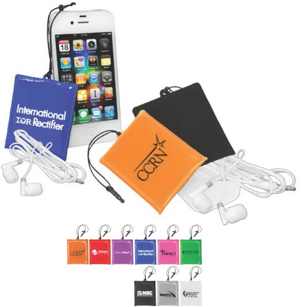 Personalized ICleaner Pouch with Ear Buds