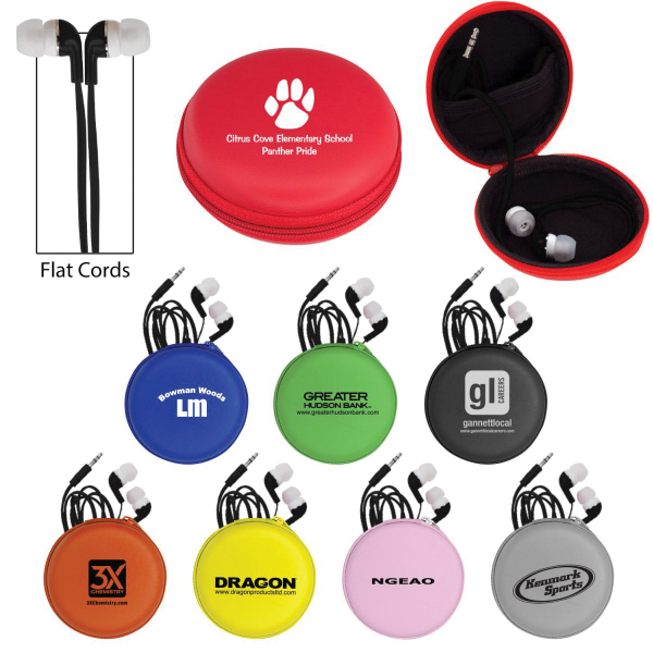 Personalized Deluxe Case with Black Premium Flat Ear Buds