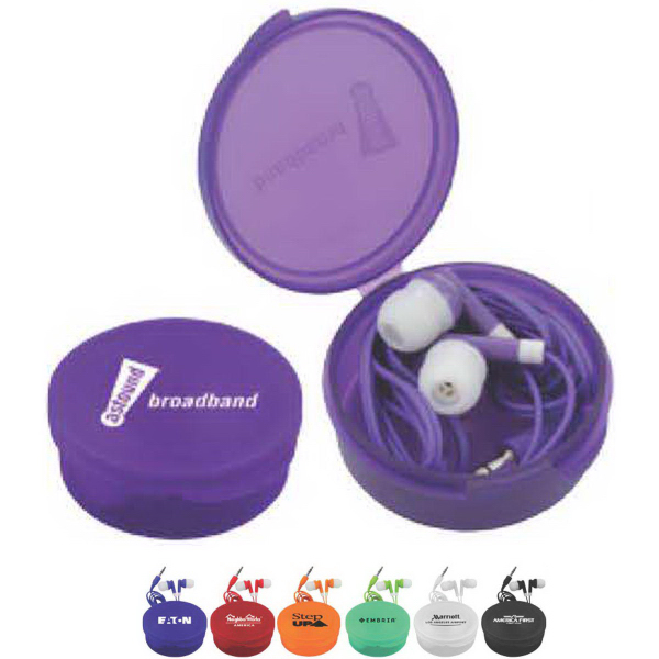Imprinted Matching Ear Buds & Round Case
