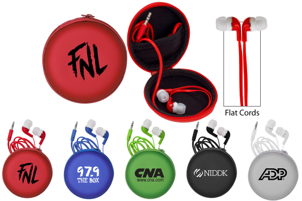 Imprinted Colorful Premium Ear Bud with Deluxe Case