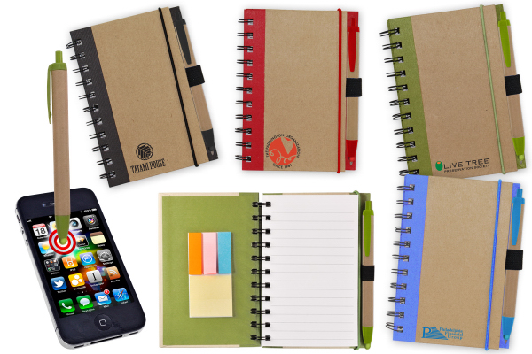 Promotional Color Edge Eco Journal/ Sticky Note/ Stylus Combo