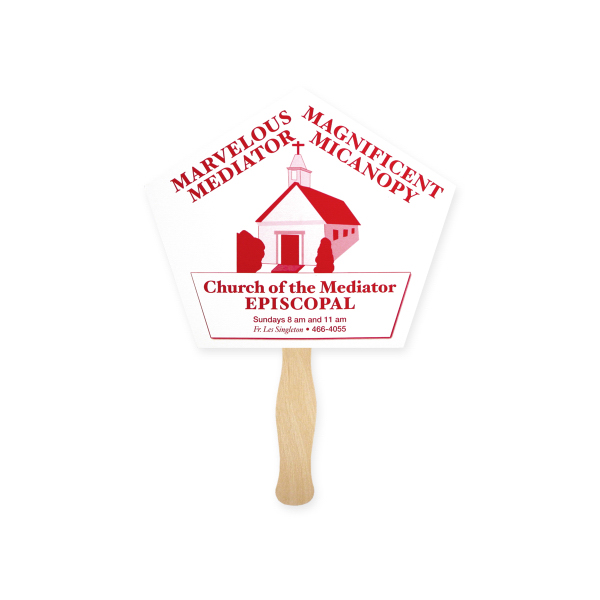 Promotional Fan - Stock Shape Church Sandwich Style Hand Fan